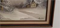 Vintage Bannister Oil on Canvas Winter Escape