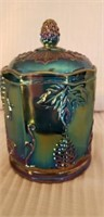 Indiand Glass Blue Carnival Dish with Lid