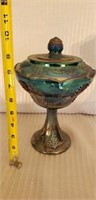 Indiana Glass Blue Carnival Footed Compote