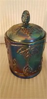 Indiana Glass Blue Carnival Jar with Lid
