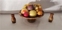 Italian Marble Console Bowl Set & Fruit