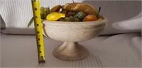Vintage Italian Marble Console Bowl & Fruit