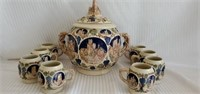 Antique West Germany Wine Bowl & Cups