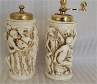 Beautiful italian alabaster salt and pepper set