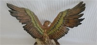 Signed Ceramic Eagle Statue on Wood Base