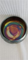 Footed Blue Carnival Glass Grape Pattern Bowl