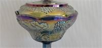 Beautiful Blue Carnival Glass Candy Dish W Lid