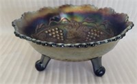 Beautiful footed carnival glass candy dish