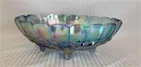 Beautiful carnival glass footed center dish