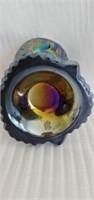 Beautiful Blue Carnival Glass Decorative Vase
