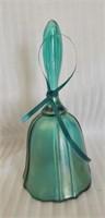 Beautiful teal Fenton Carnival glass bell