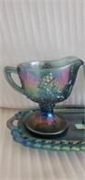 3 pc Imperial Carnival Glass Cream & Sugar Dish