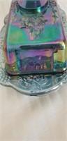 Beautiful carnival glass butter dish