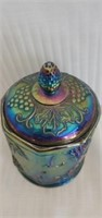 Blue Imperial Carnival Glass Grape Pattern Dish