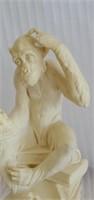 Vintage Thinking Darwin Monkey Santini Statue