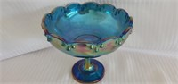 Blue Imperial Carnival Glass Bowl on Pedastool