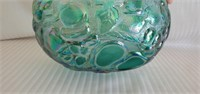 Blue Imperial Carnival Glass Cherry Pattern Basket