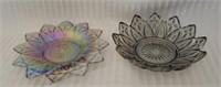 Lot of 2 beautiful carnival glass decorative items