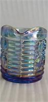 Blue Imperial Carnival Glass Cream & Sugar Dishes