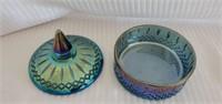 Blue Imperial Carnival Glass Diamond Pattern Bowl