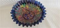 Blue Imperial Carnival Glass Ruffled Edge Bowl