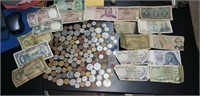 Large lot of foreign money and coins