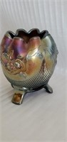 Imperial Carnival Glass Rose Pattern Footed Bowl