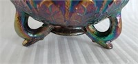 Fenton Carnival Glass Floral Pattern Footed Bowl