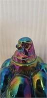Beautiful carnival glass Westmoreland hen on nest