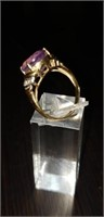 14K yellow gold and Amethyst Ring size 7