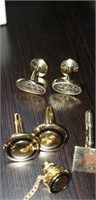 Estate lot of cuff links, tie tacks,