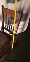 Antique Oak Leather Bottom Rocking Chair