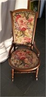 Antique pinned round bottom Oak Rocking Chair