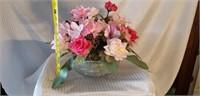 Lead Crystal Bowl & Faux Floral Arrangement