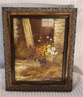 Original Acrylic on Canvas Barn & Flowers
