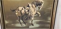 Vintage Cloth on Board Prancing Stallion Horse