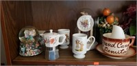 Misc. Shelf Estate lot Clock Collectibles & More