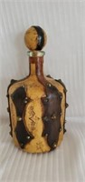 Antique Leather Covered Glass Decanter with Lid