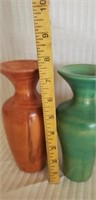 Lot of 3 beautiful wood colorful vases