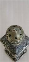 Vintage Metal Salt & Pepper Shakers Sterling Tops