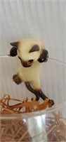 Ceramic Siamese Cats, Mouse, Cheese & Glass Jar