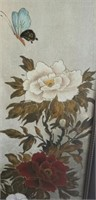 Beautiful print on canvas of flowers, framed