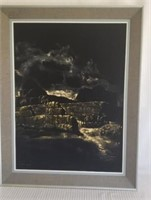 Beautiful paint on cloth, framed