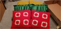 Lot of 6 hand knitted small pillow cases