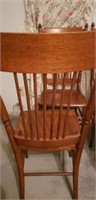 4 hand carved antique wooden dining table chairs