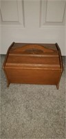 Solid wood sewing box with sewing supplies