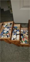 Wooden sewing box and sewing supplies