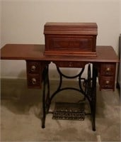 New Home sewing machine with cabinet