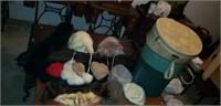 Lot of 8 ladies hats, 3 vintage hat boxes