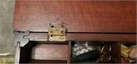Vintage Dark Wood Sewing Cabinet & Contents